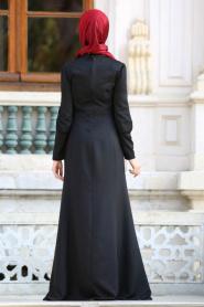 Neva Style - Kolyeli Siyah Tesettür Abiye Elbise 41860S - Thumbnail