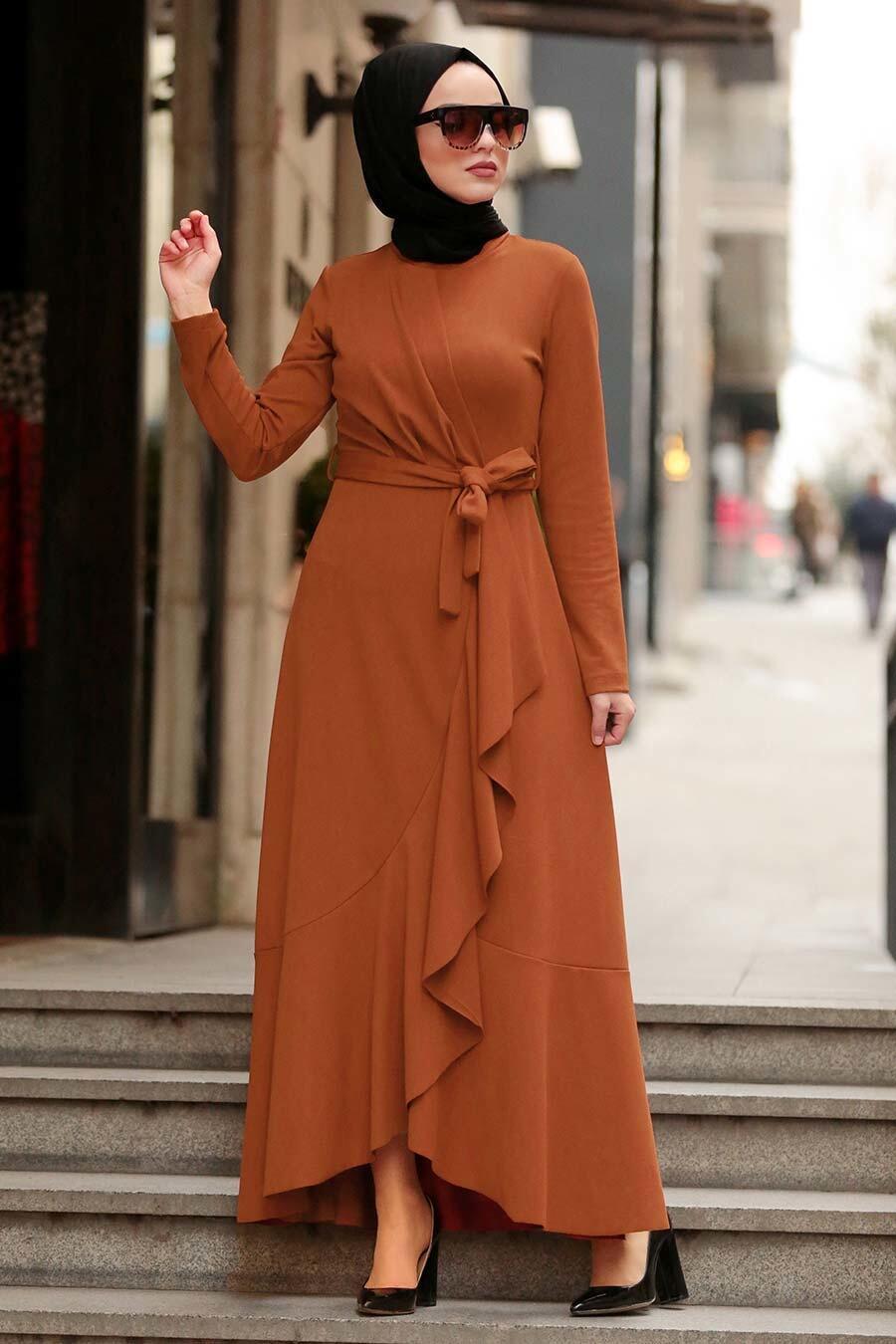 Neva Style - Koyu Taba Tesettür Çapraz Elbise 4041KTB