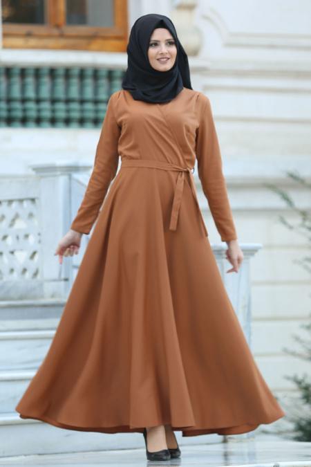 Neva Style -Kruvaze Yaka Kemerli Taba Tesettür Elbise 41980TB