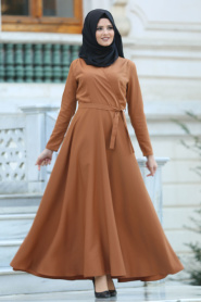 Neva Style -Kruvaze Yaka Kemerli Taba Tesettür Elbise 41980TB - Thumbnail