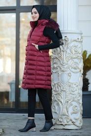 Neva Style - Yakası Kürklü Bordo Tesettür Şişme Yelek 3050BR - Thumbnail