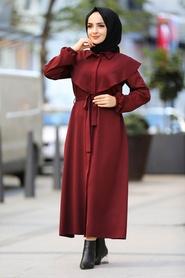 Neva Style - Kuşaklı Bordo Tesettür Elbise 4331BR - Thumbnail