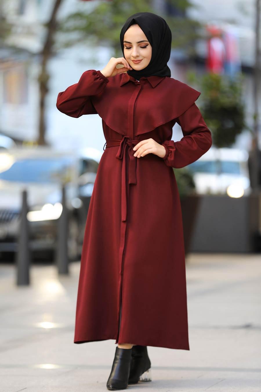 Neva Style - Kuşaklı Bordo Tesettür Elbise 4331BR