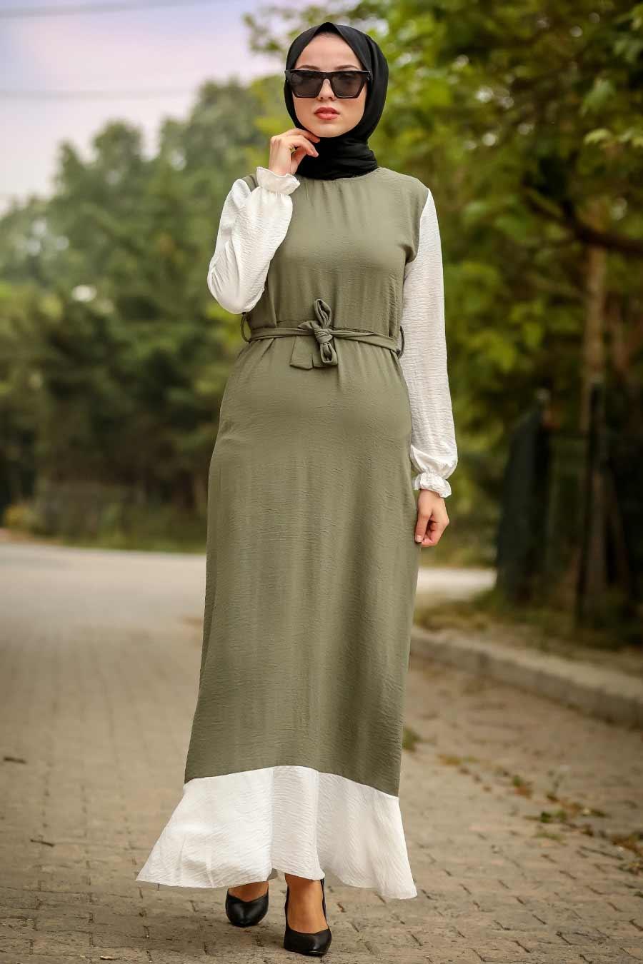 Neva Style - Kuşaklı Haki Tesettür Elbise 6596HK