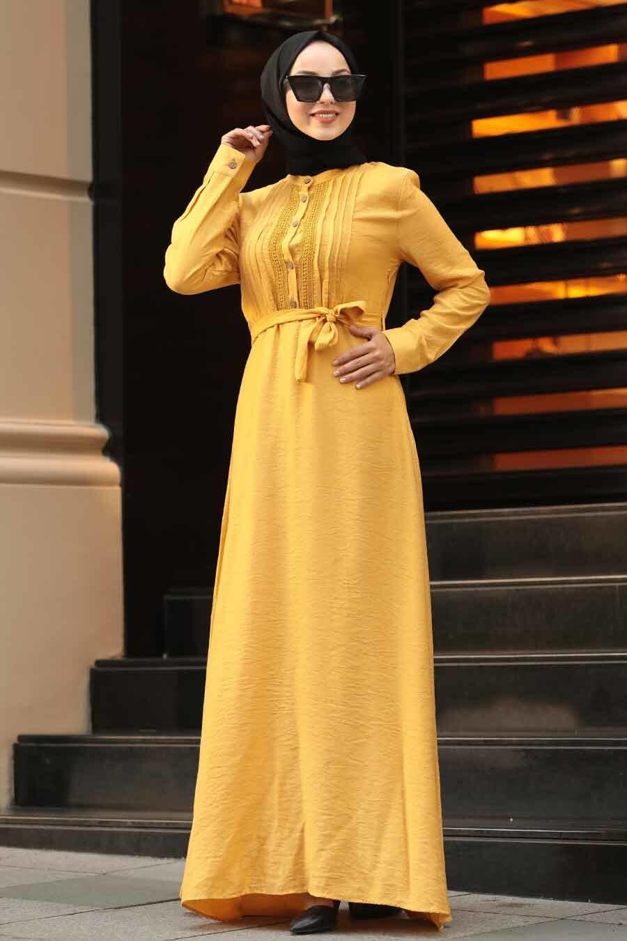 Neva Style - Kuşaklı Hardal Tesettür Elbise 39710HR