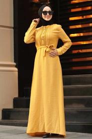 Neva Style - Kuşaklı Hardal Tesettür Elbise 39710HR - Thumbnail