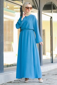 Neva Style - Kuşaklı İndigo Mavisi Tesettür Elbise 5013IM - Thumbnail