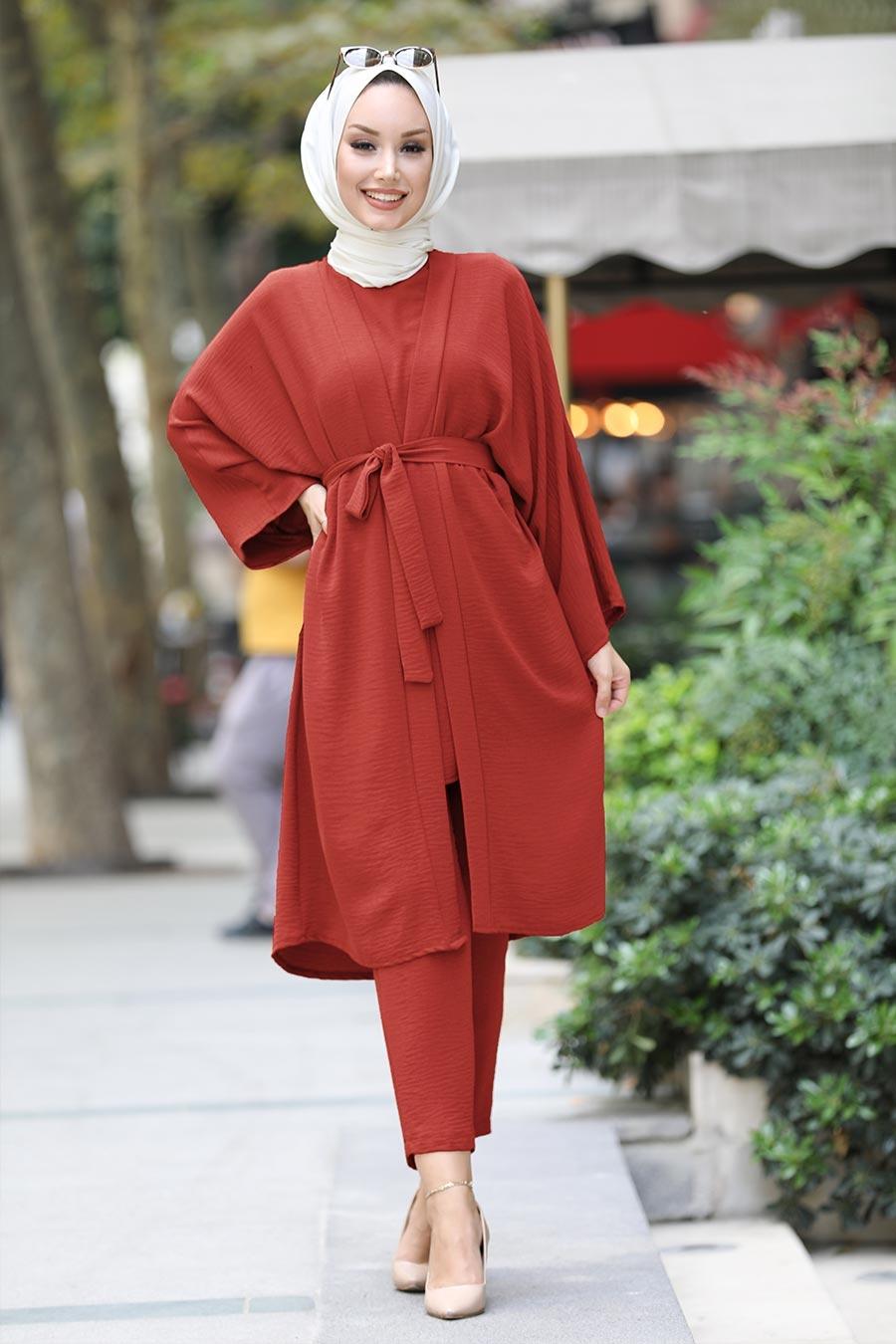 Neva Style - Kuşaklı Kiremit Tesettür Kimono Takım 51630KRMT