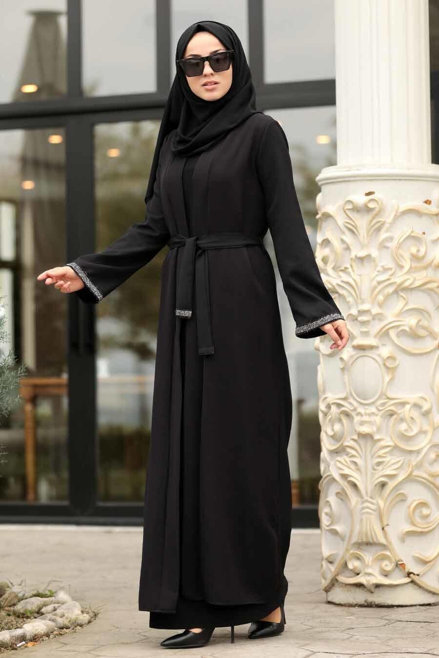 Neva Style - Kuşaklı Siyah Tesettür Kap 39080S