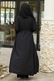 Neva Style - Kuşaklı Siyah Tesettür Kap 39080S - Thumbnail