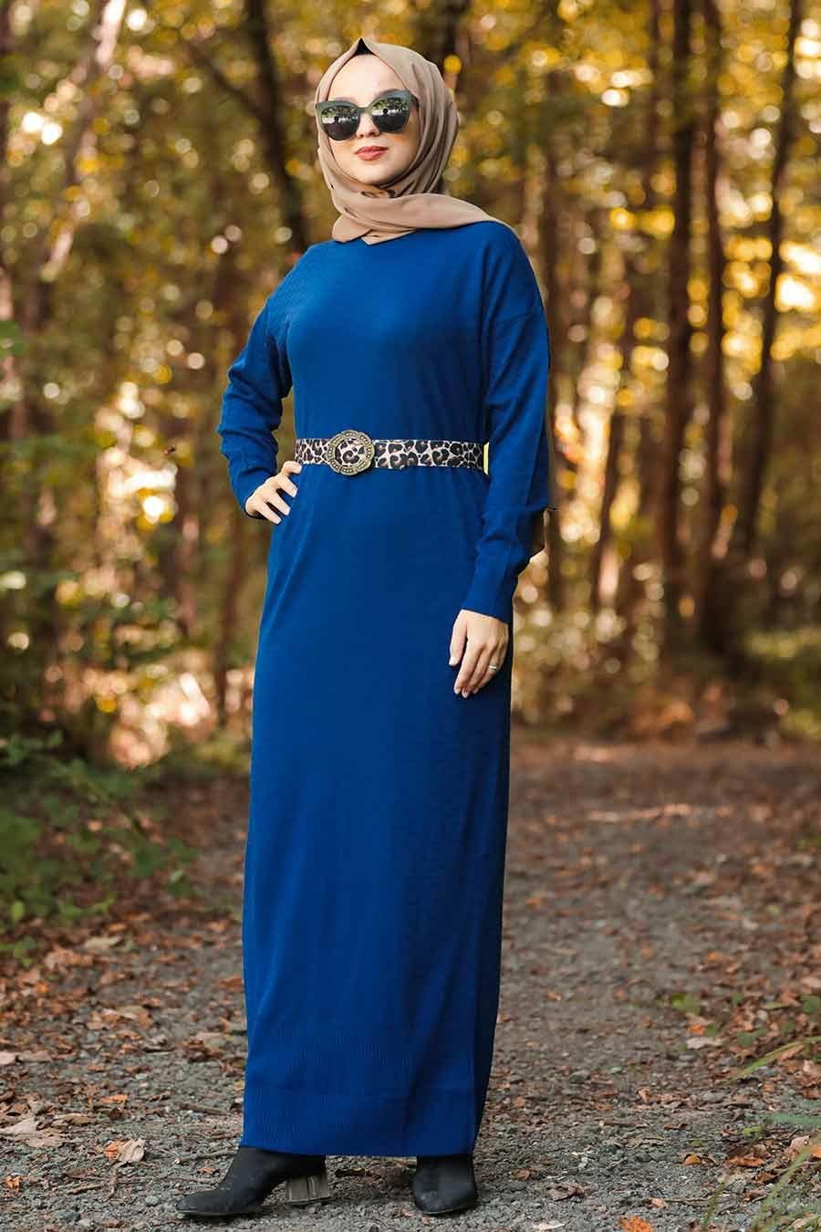 Neva Style - Leopar Desen Kemerli İndigo Mavisi Tesettür Triko Elbise 10071IM
