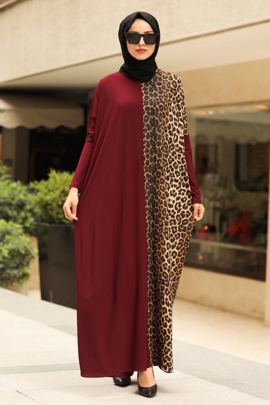 Neva Style - Leopar Desenli Bordo Tesettür Elbise 5453BR