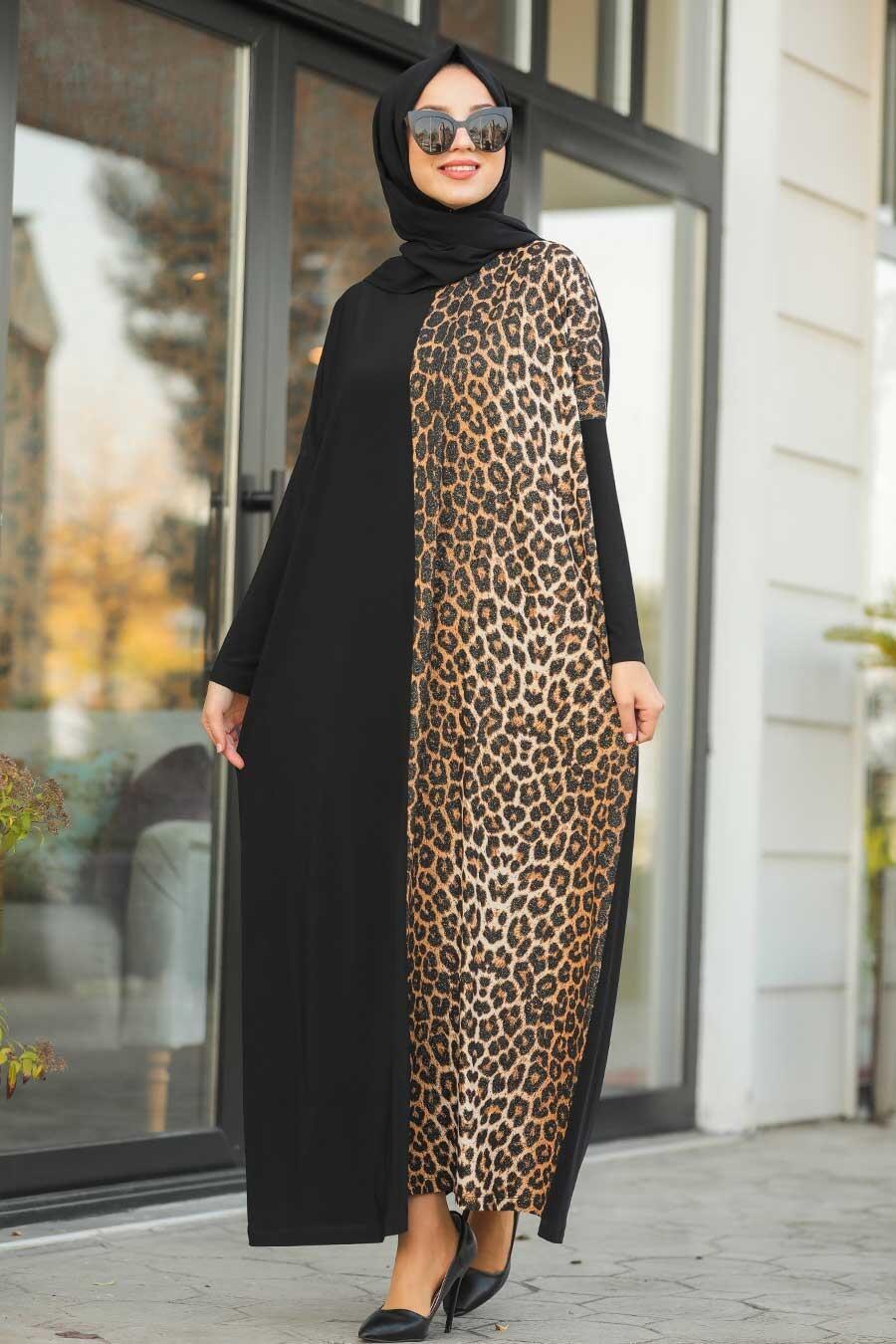 Neva Style - Leopar Desenli Siyah Tesettür Elbise 5453S