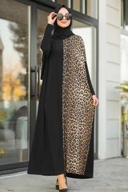 Neva Style - Leopar Desenli Siyah Tesettür Elbise 5453S - Thumbnail