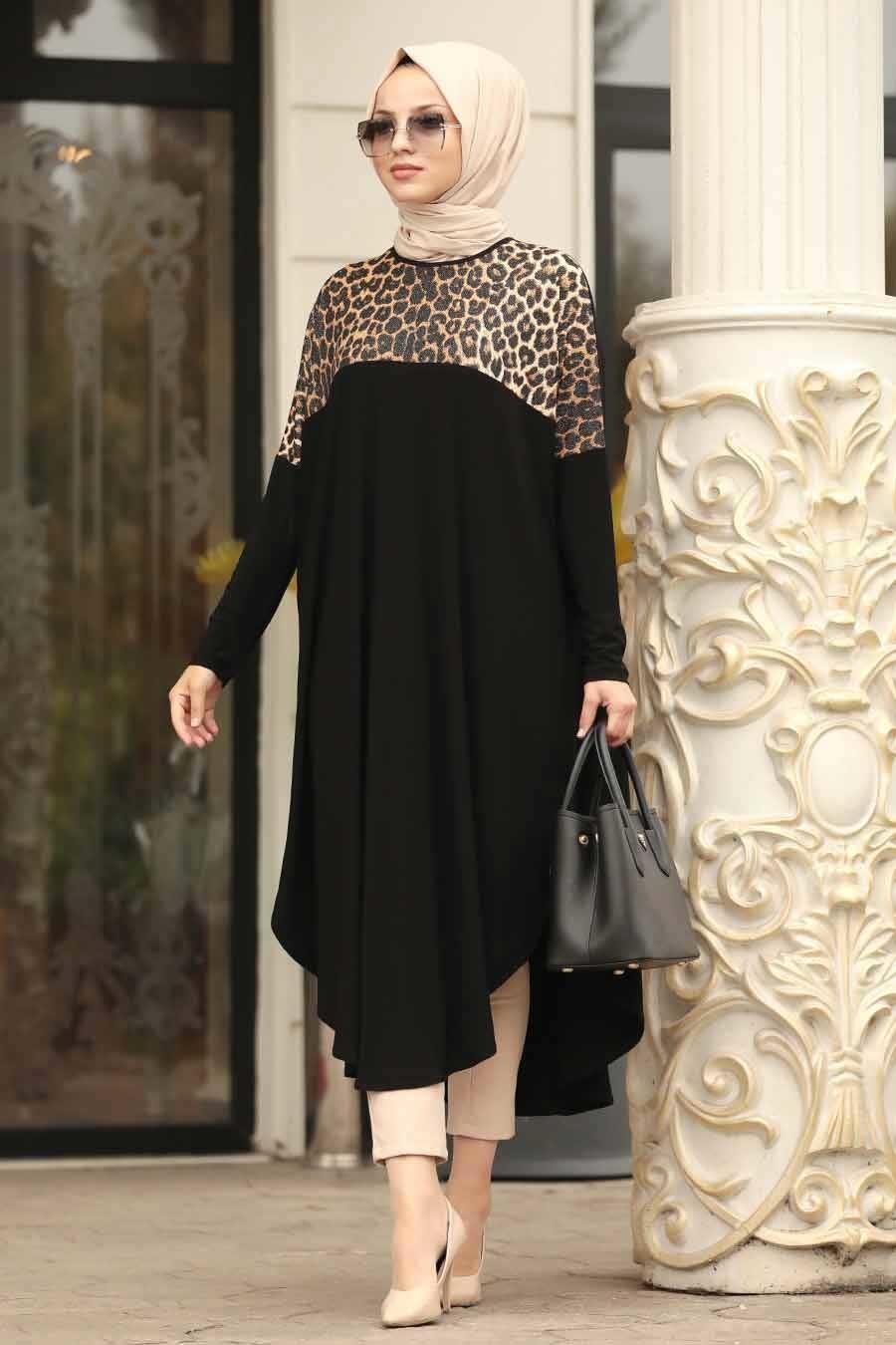 Neva Style - Leopar Desenli Siyah Tesettür Tunik 40003S