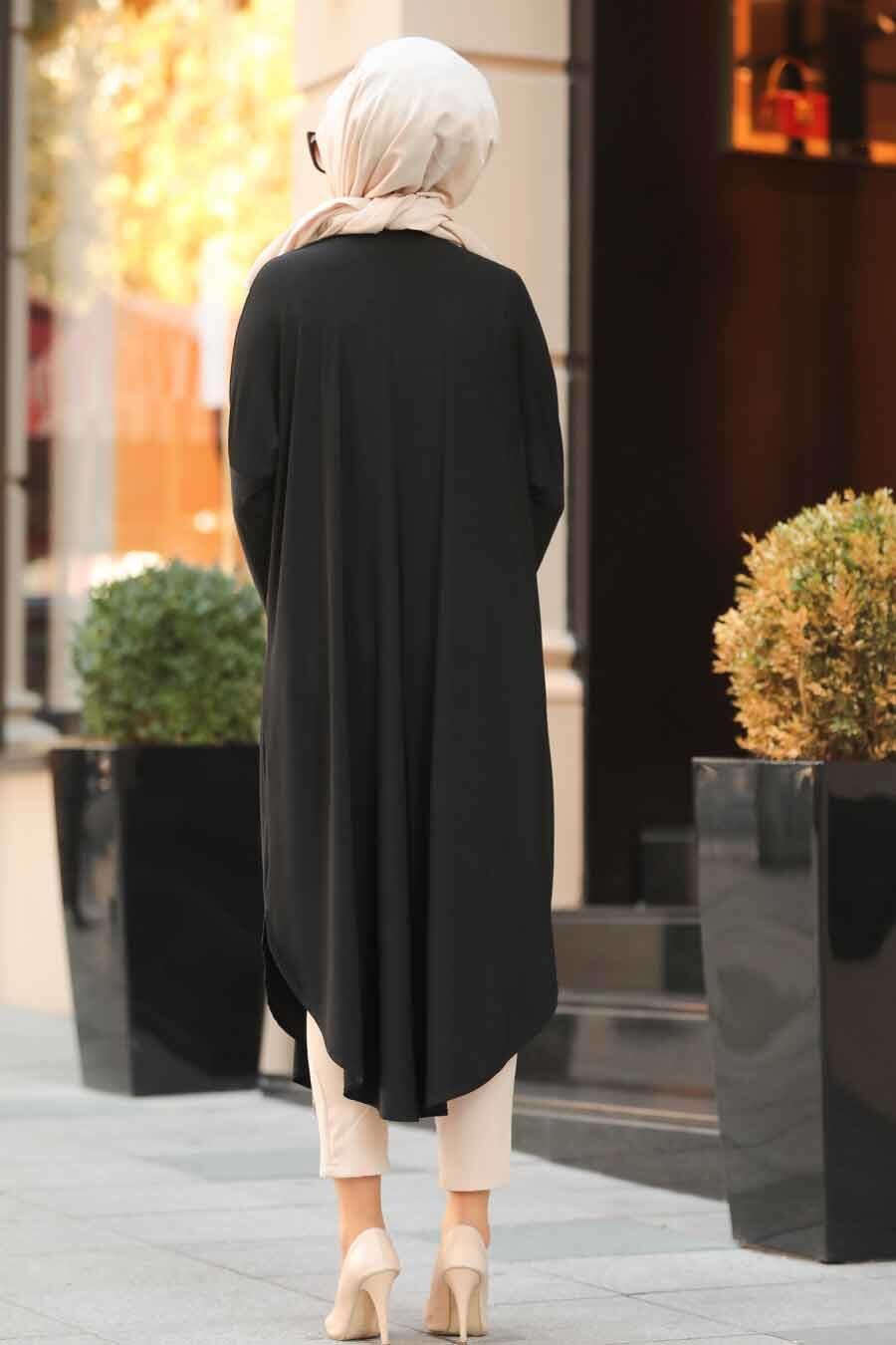 Neva Style - Leopar Desenli Siyah Tesettür Tunik 4846S