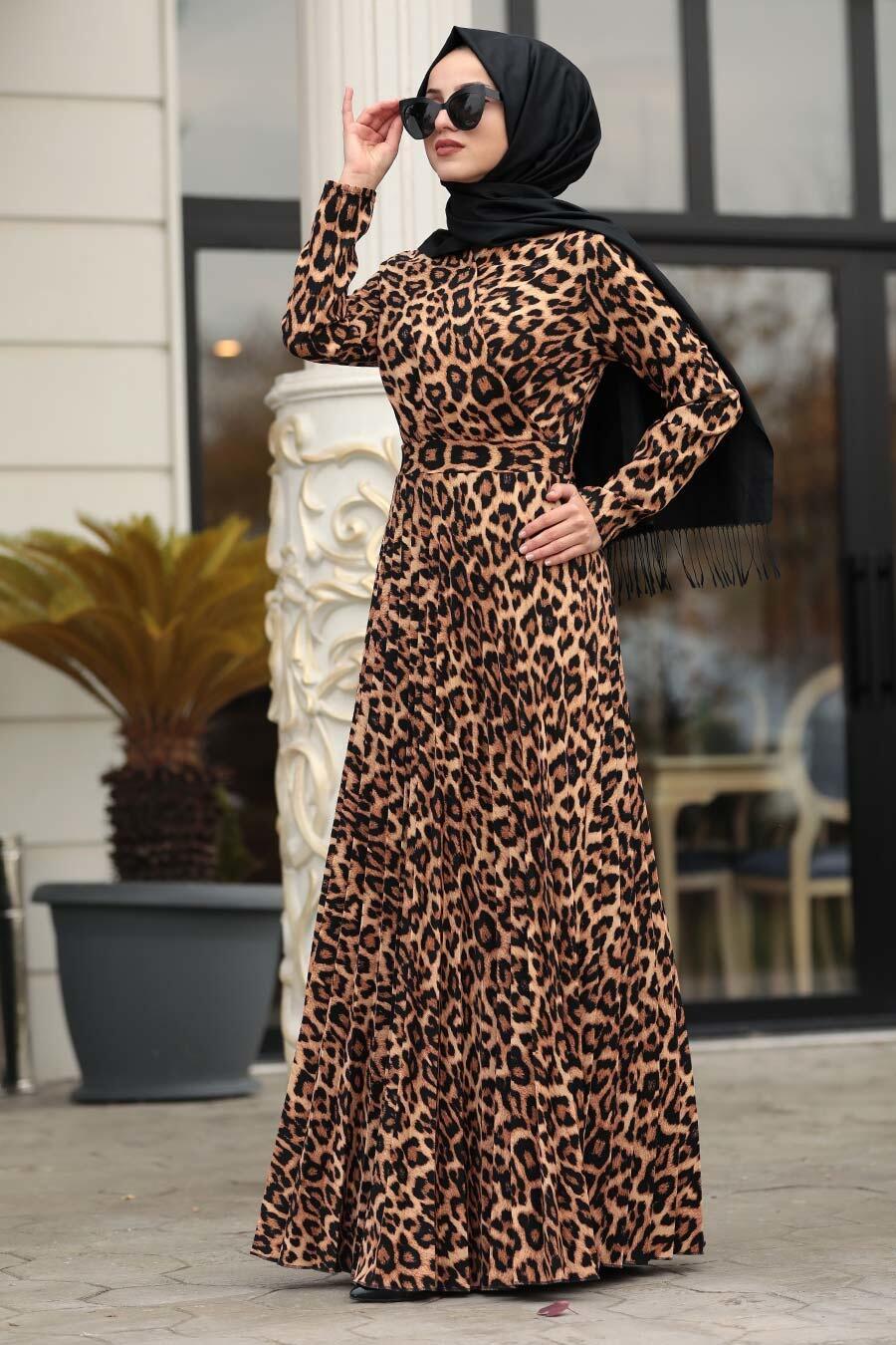 Neva Style - Leopar Desenli Tesettür Elbise 1451LP