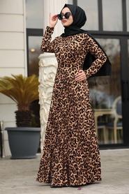 Neva Style - Leopar Desenli Tesettür Elbise 1451LP - Thumbnail