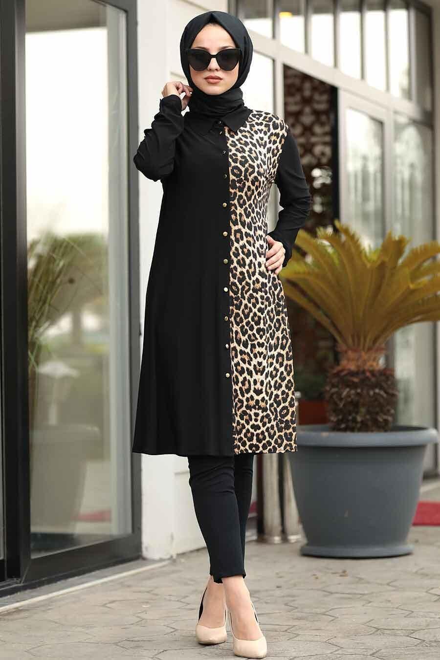 Neva Style - Leopar Detaylı Siyah Tesettür Tunik 4989S