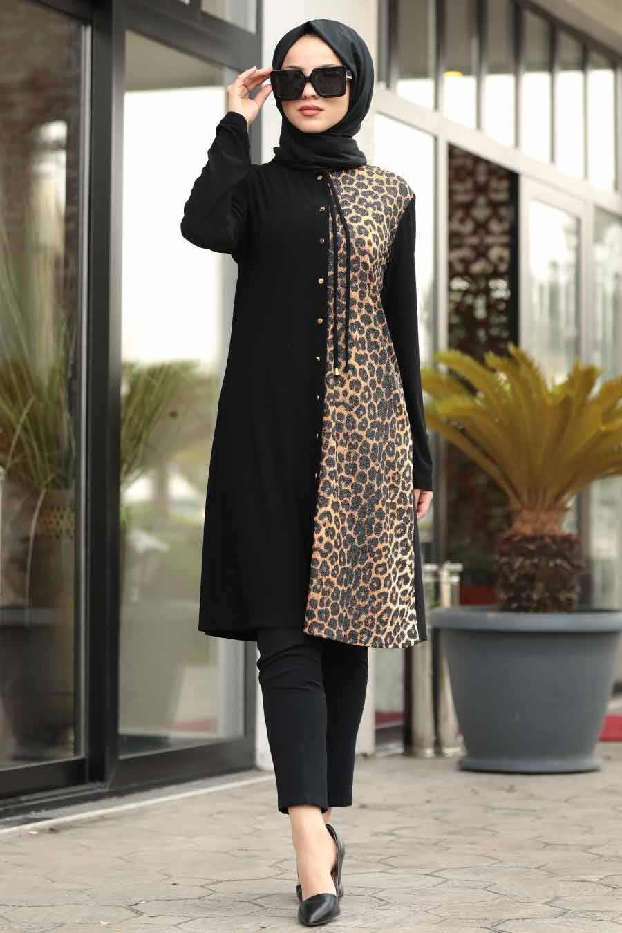 Neva Style - Leopar Detaylı Siyah Tesettür Tunik 40007S