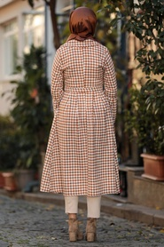 Neva Style - Mustard Hijab Coat 50772HR - Thumbnail
