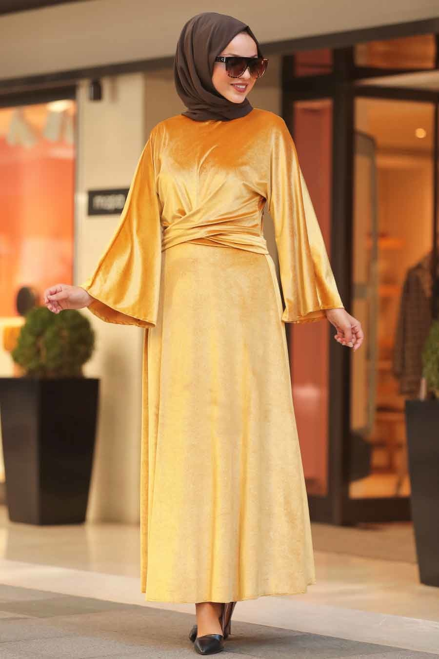 Neva Style Mustard Hijab Velvet Dress 22590hr Tesetturisland Com