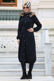 Neva Style - Navy Blue Hijab Coat 15360L - Thumbnail