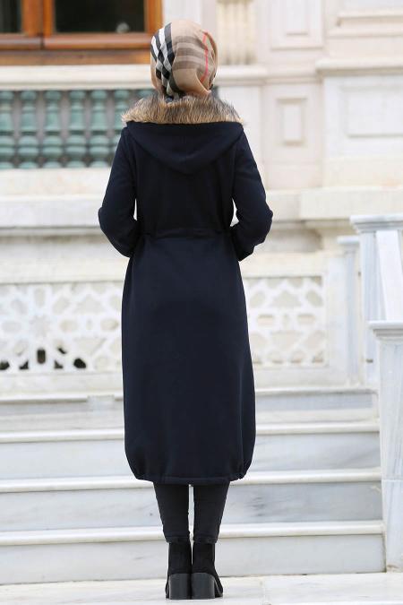 Neva Style - Navy Blue Hijab Coat 15360L