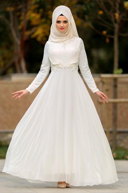 Neva Style - Nervür Detaylı Ekru Tesettür Abiye Elbise 3607E