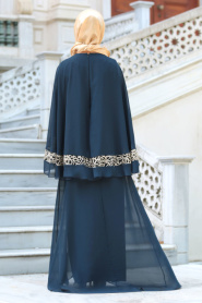 Neva Style - Omuzları Dantel Detaylı Lacivert Tesettür Abiye Elbise 52596L - Thumbnail