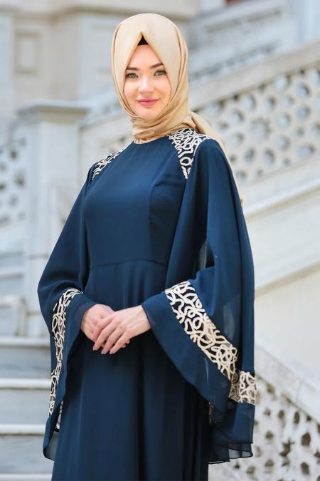 Neva Style - Omuzları Dantel Detaylı Lacivert Tesettür Abiye Elbise 52596L