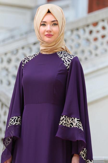Neva Style - Omuzları Dantel Detaylı Mor Tesettür Abiye Elbise 52596MOR