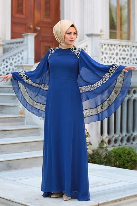 Neva Style - Omuzları Dantel Detaylı Saks Mavisi Tesettür Abiye Elbise 52596SX