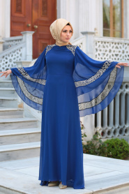 Neva Style - Omuzları Dantel Detaylı Saks Mavisi Tesettür Abiye Elbise 52596SX - Thumbnail