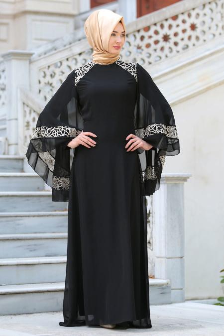 Neva Style - Omuzları Dantel Detaylı Siyah Tesettür Abiye Elbise 52596S