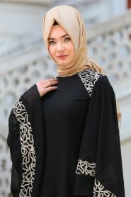 Neva Style - Omuzları Dantel Detaylı Siyah Tesettür Abiye Elbise 52596S - Thumbnail