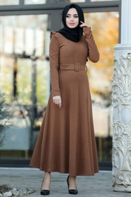Neva Style - Omuzları Detaylı Taba Tesettür Elbise 22159TB - Thumbnail