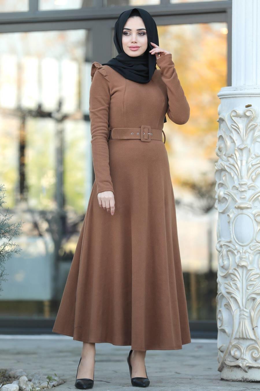 Neva Style - Omuzları Detaylı Taba Tesettür Elbise 22159TB
