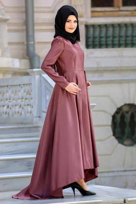 Neva Style - Omuzları Püsküllü Kahverengi Tesettür Abiye Elbise 3543KH