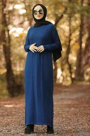 Neva Style - Önü Desenli İndigo Mavisi Tesettür Triko Elbise 1048IM - Thumbnail