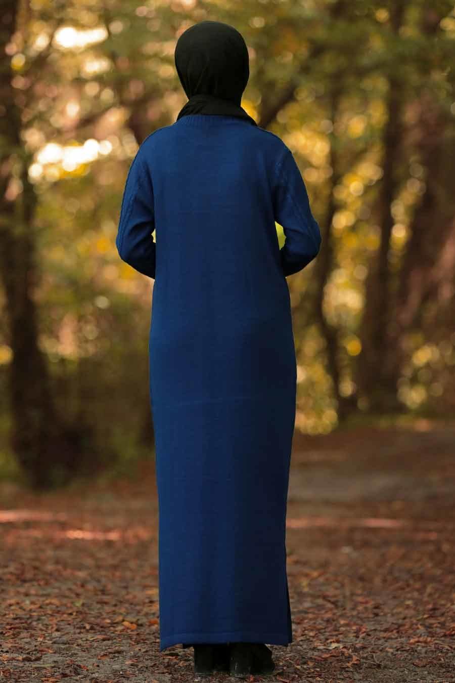 Neva Style - Önü Desenli İndigo Mavisi Tesettür Triko Elbise 1048IM