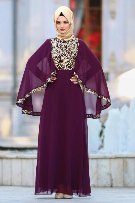 Neva Style - Payet Detaylı Mürdüm Tesettür Abiye Elbise 25620MU