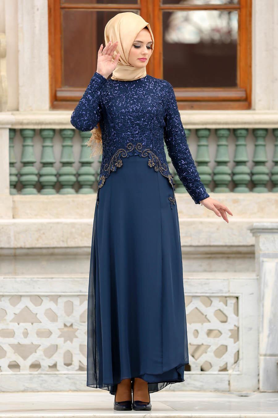 Neva Style - Payetli Dantel Detaylı Lacivert Tesettür Abiye Elbise 25311L