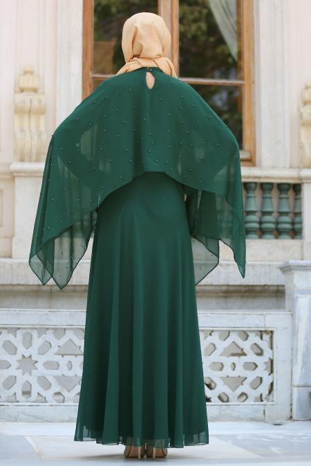 Neva Style - Pelerini İnci Detaylı Yeşil Tesettür Elbise SLV-5025Y