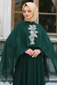 Neva Style - Pelerini İnci Detaylı Yeşil Tesettür Elbise SLV-5025Y - Thumbnail