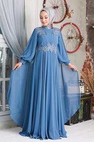 Neva Style - Pelerinli İndigo Mavisi Tesettür Abiye Elbise 9130IM - Thumbnail
