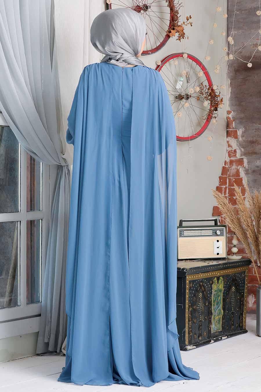 Neva Style - Pelerinli İndigo Mavisi Tesettür Abiye Elbise 9130IM
