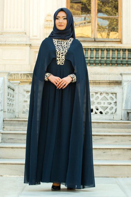 Neva Style - Pelerinli Önü Dantelli Lacivert Tesettür Abiye Elbise 52571L
