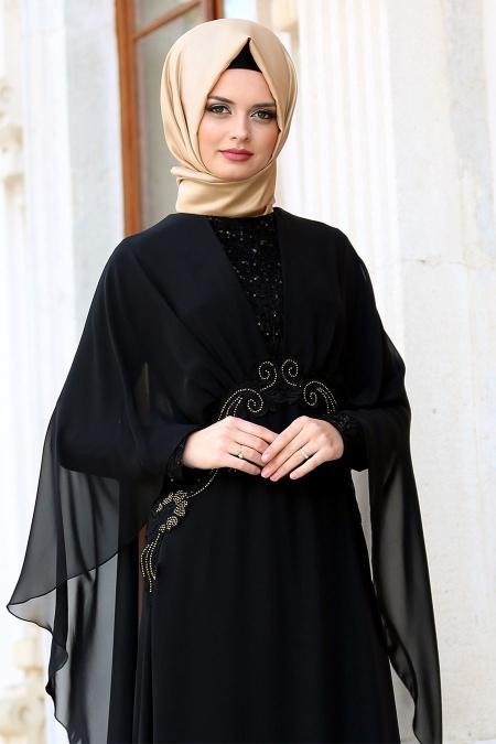 Neva Style - Pelerinli Payet Detaylı Siyah Tesettür Abiye Elbise 25320S
