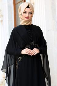 Neva Style - Pelerinli Payet Detaylı Siyah Tesettür Abiye Elbise 25320S - Thumbnail